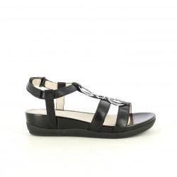 Sandalias planas STONEFLY cerradas negras de piel con velcro y tiras - Querol online
