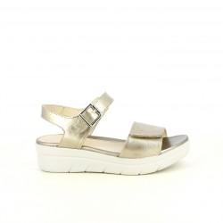 Sandalias planas STONEFLY doradas metalizadas con velcro y hebilla - Querol online