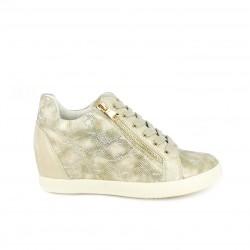 Zapatillas deportivas You Too doradas de textura serpiente con plataforma y cremalleras - Querol online