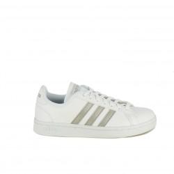 Zapatillas deportivas Adidas grand court blancas con franjas plateadas - Querol online