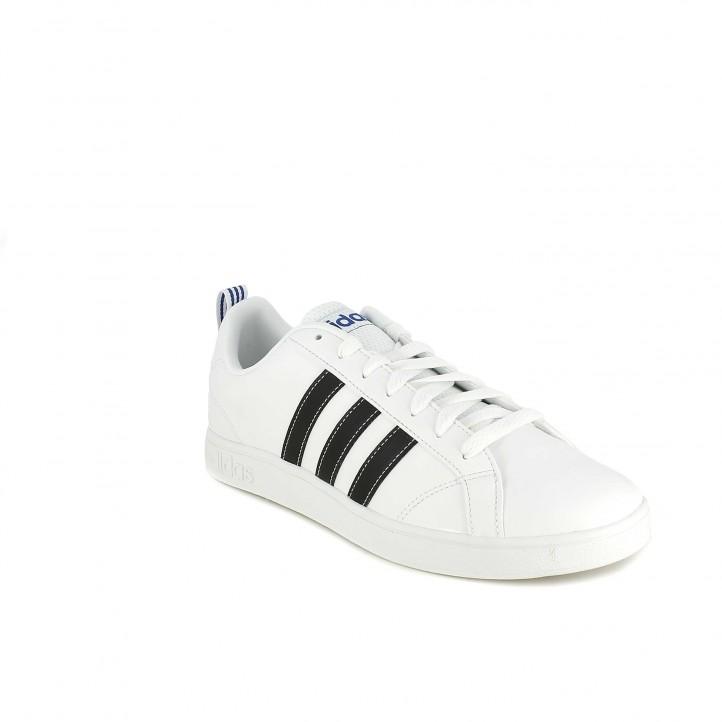 Zapatillas deportivas Adidas advantage blancas con franjas negras - Querol online