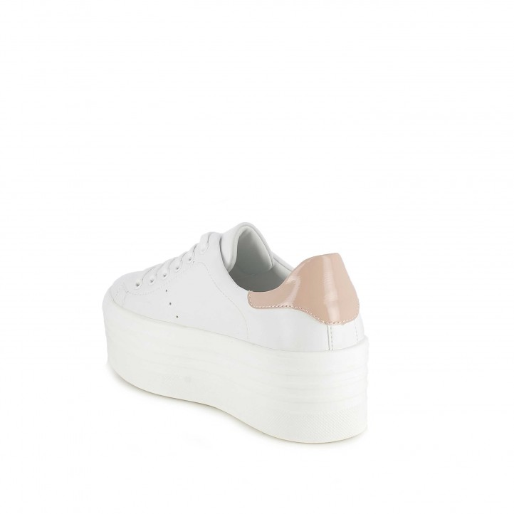 Sabatilles esportives Owel blanques de plataforma i detall rosa - Querol online