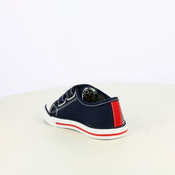 Zapatillas lona Pablosky azul marino con velcros y detalles blancos y rojos - Querol online