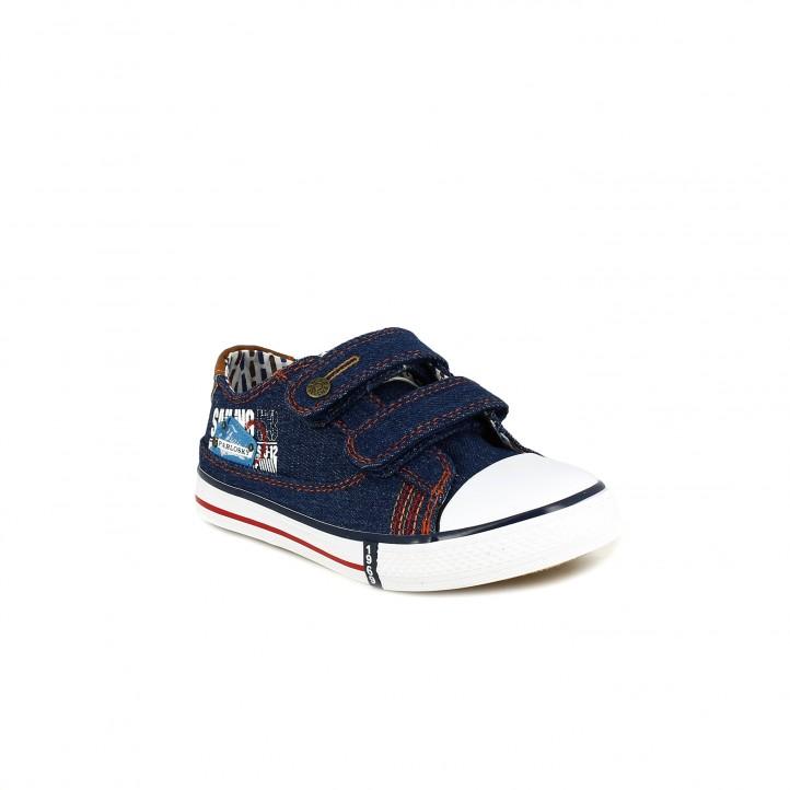 Zapatillas lona Pablosky azul tejano con doble velcro - Querol online