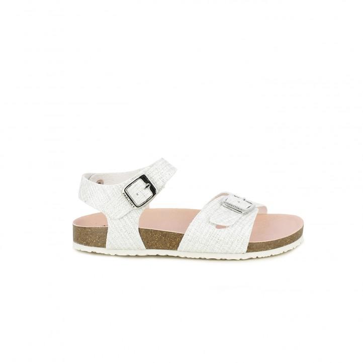 sandalias Pablosky blancas con doble hebilla - Querol online