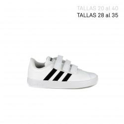 Zapatillas deporte Adidas court blancas con franjas negras - Querol online