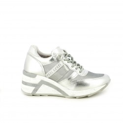 Zapatillas deportivas Cetti con plataforma grises metalizadas - Querol online