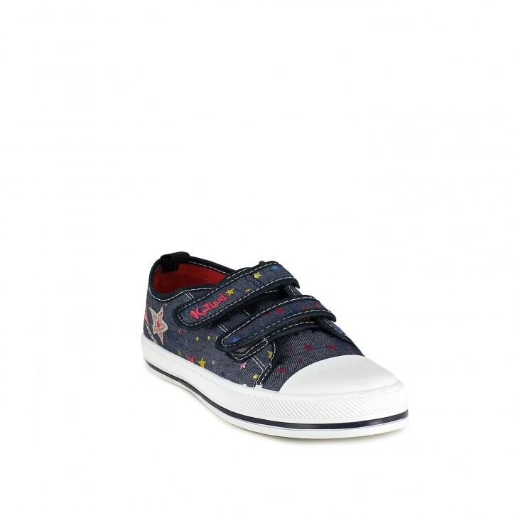 Zapatillas lona K-Tinni azul marino con estrellas y doble velcro - Querol online