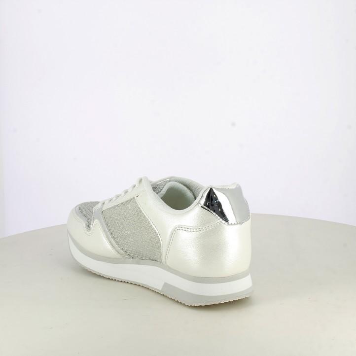 Zapatillas deportivas Refresh blancas con purpurina y plataforma - Querol online