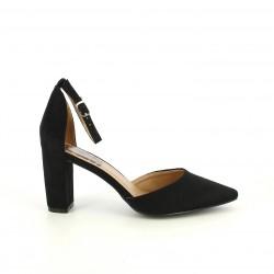 Zapatos tacón Refresh negros de antelina con tira y de punta - Querol online