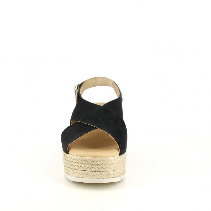 Cuñas Redlove negras de piel con tiras y hebilla en el tobillo - Querol online