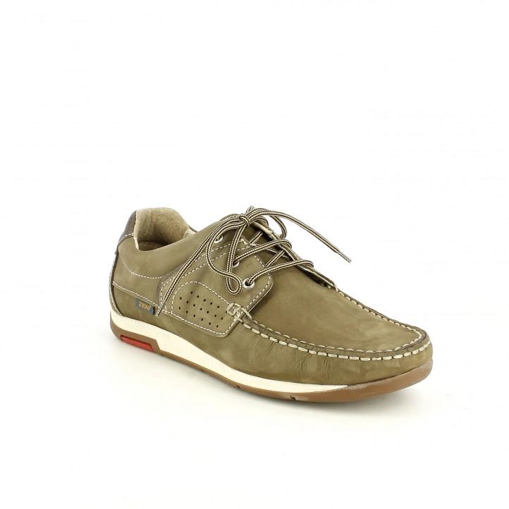 Zapatos sport Zen taupe de piel con cordones - Querol online