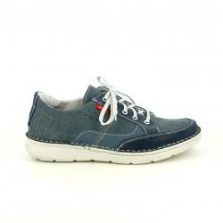 Zapatos sport Zen azules de piel con cordones y orificios
