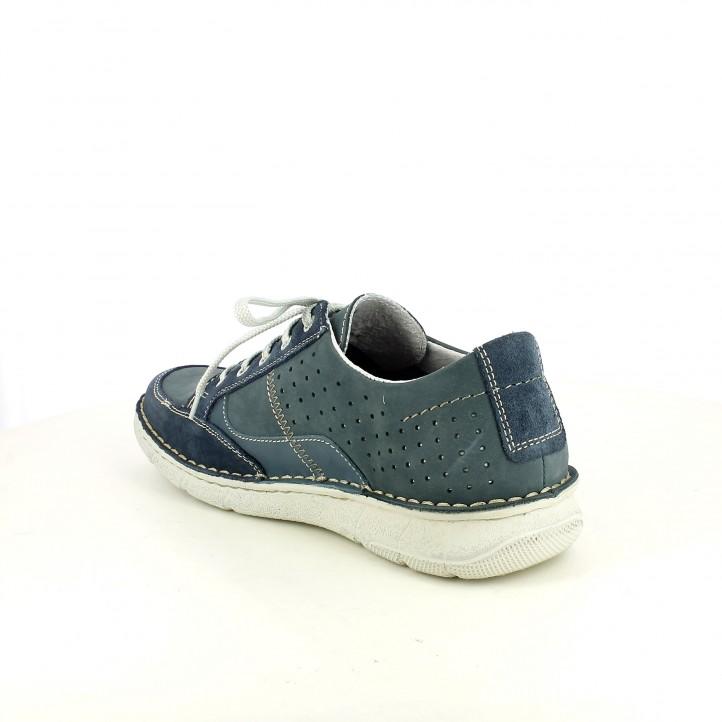 Zapatos sport Zen azules de piel con cordones y orificios - Querol online