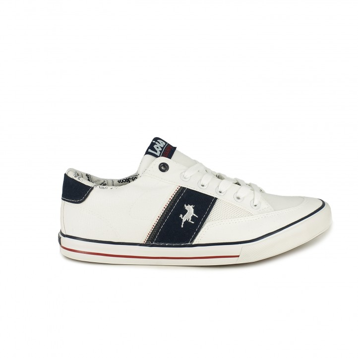 Zapatillas lona Lois blancas de corodnes con detalles azules - Querol online