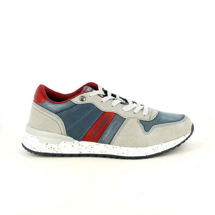 Zapatillas deportivas Lois azules tejano, grises y rojas - Querol online