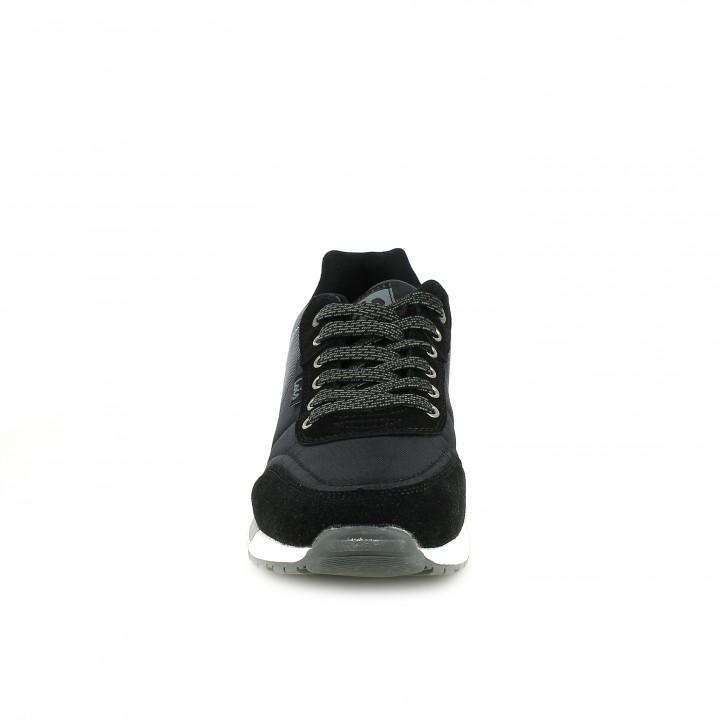 Zapatillas deportivas Lois negras, grises y blancas de cordones - Querol online