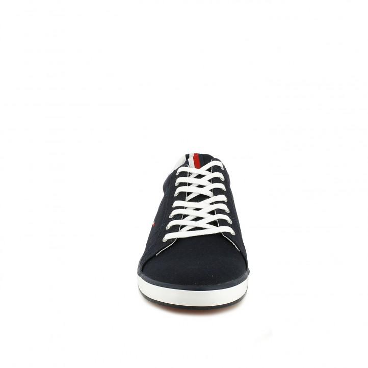 Zapatillas lona Tommy Hilfiger azul marino con detalles y cordones en blanco - Querol online