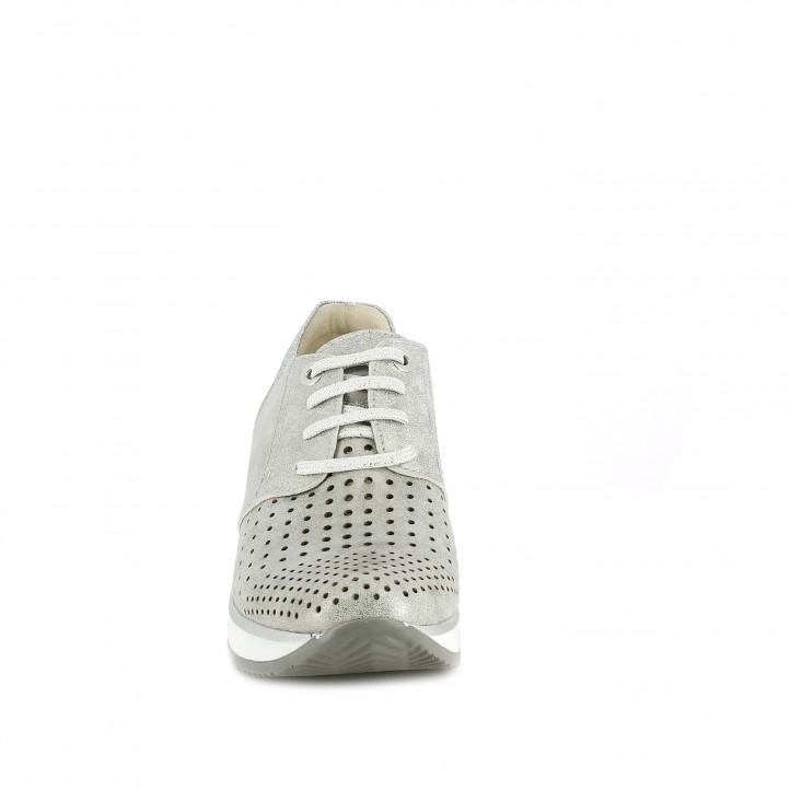Sabatilles esportives Suite009 gris metal·litzat amb plataforma i orificis - Querol online