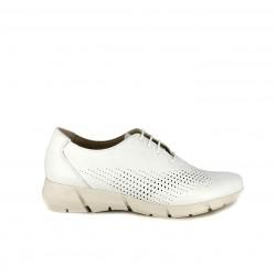 Zapatos planos Suite009 blancos de piel con cordones y orificios - Querol online