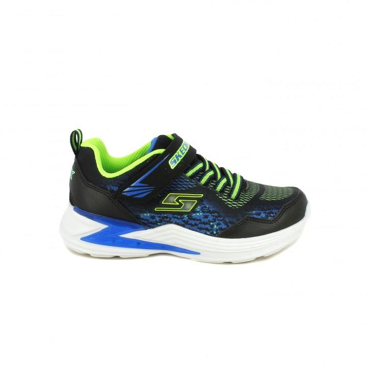 Zapatillas deporte Skechers negras, azules y verdes con luces - Querol online