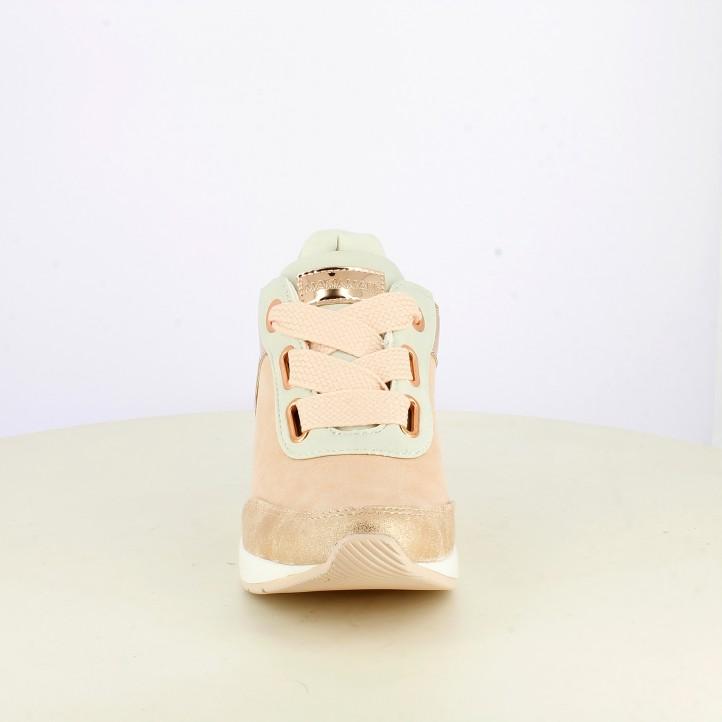 Zapatillas deportivas Maria Mare con plataforma rosas y blancas de cordones - Querol online
