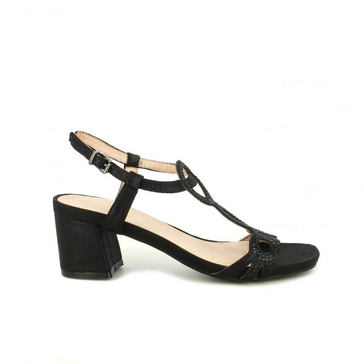 Sandalias tacón D'angela negras de piel con hebilla y brillantes - Querol online