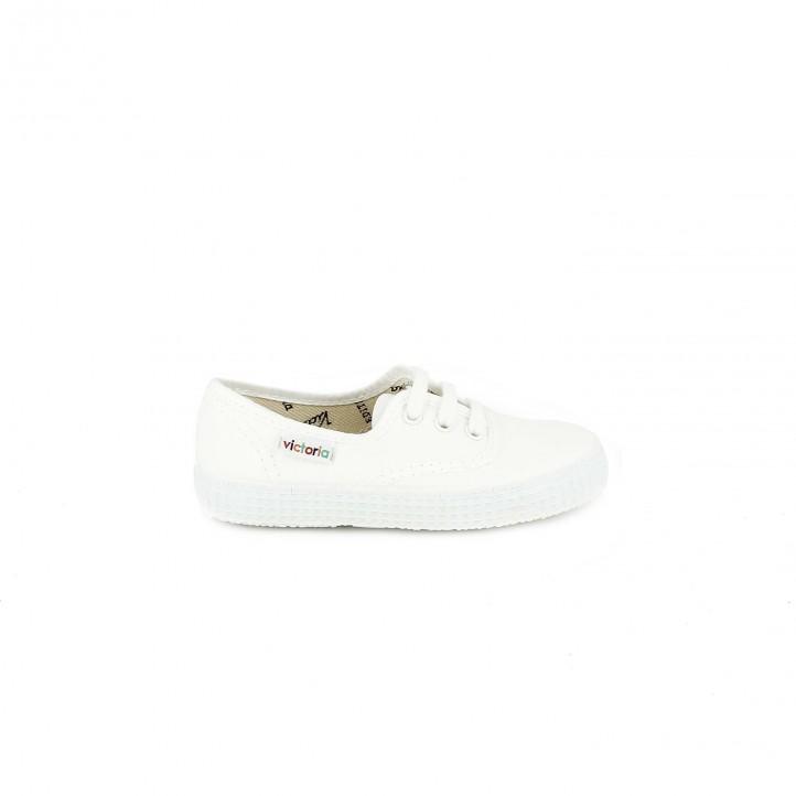 Zapatillas lona Victoria blancas bajas con cordones - Querol online