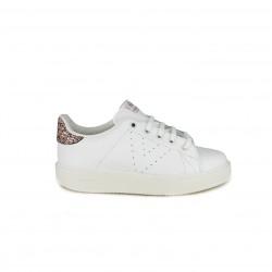 a5f937adcd Zapatillas deporte Victoria blancas de piel con glitter - Querol online