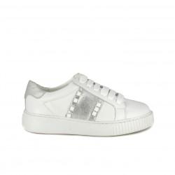 Zapatillas deportivas Redlove blancas de piel con detalles plateados - Querol online