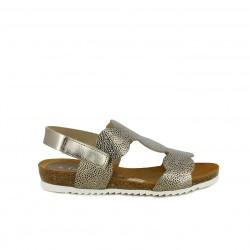 Sandalias planas Suite009 dorado metalizado de piel con velcro en el tobillo - Querol online