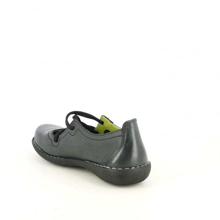 Zapatos planos Jungla negros de piel con cordones elásticos - Querol online