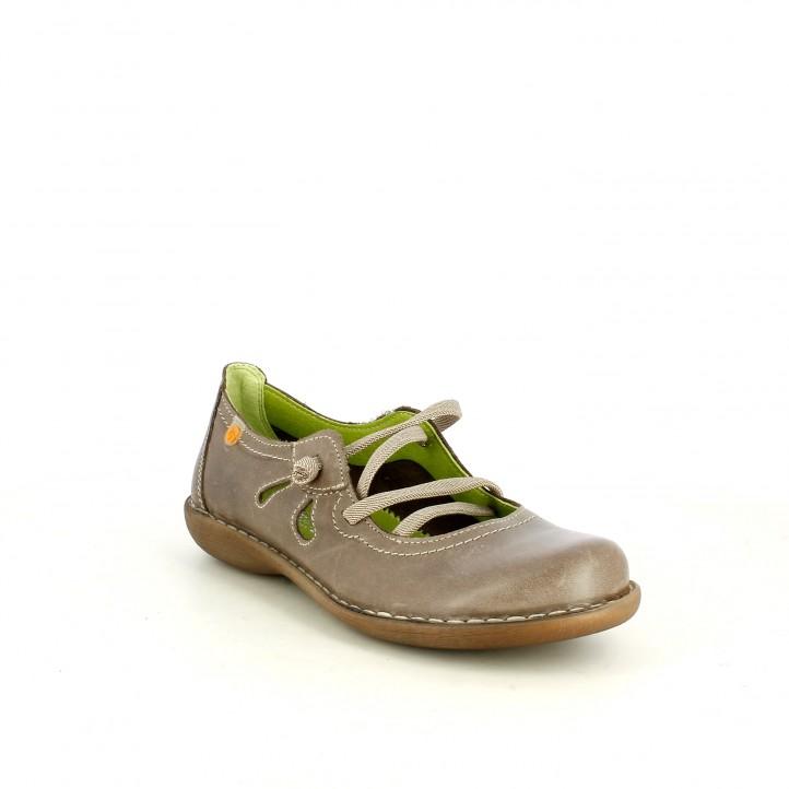 Zapatos planos Jungla grises de piel con cordones elásticos - Querol online