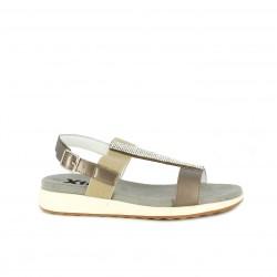 Sandalias planas Xti marrones metalizadas con brillantes - Querol online