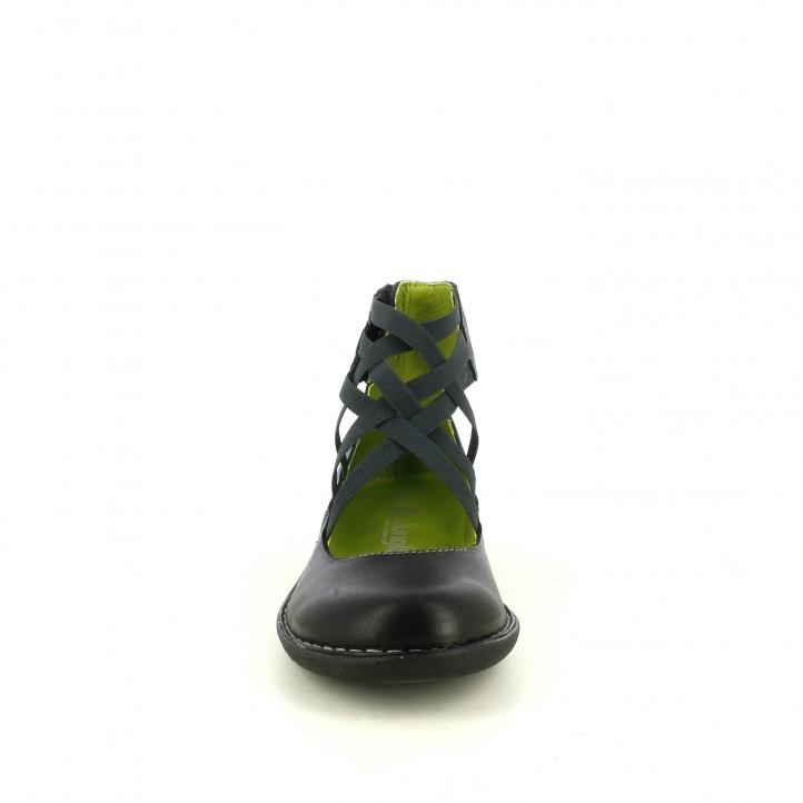 Zapatos planos Jungla negros de piel con tiras elásticas y velcro en el tobillo - Querol online