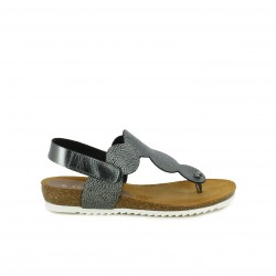 Sandalias planas Suite009 gris metalizado de piel con velcro en el tobillo - Querol online