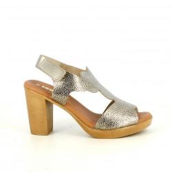 Sandalias tacón Redlove de piel doradas metalizadas con velcro en el tobillo - Querol online