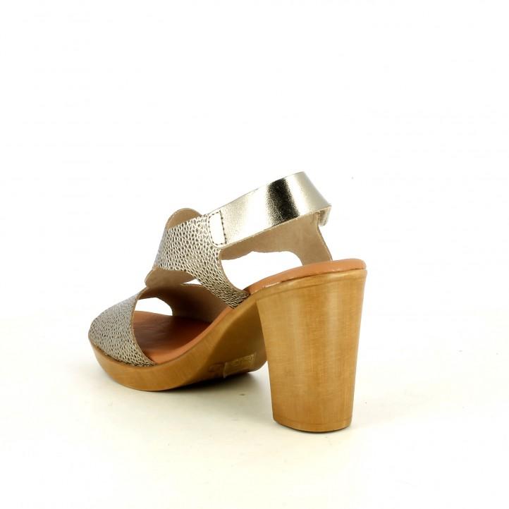 Sandàlies taló Redlove de pell daurades metal·litzades amb velcro al turmell - Querol online