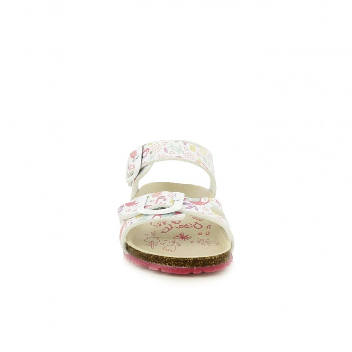 sandalias GARVALIN blancas estampadas con doble hebilla - Querol online