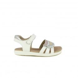 sandalias GARVALIN blancas de piel con detalles brillantes y velcro - Querol online