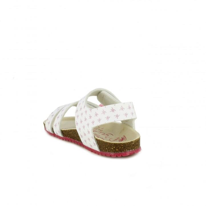 sandalias GARVALIN blancas con detalles tropicales y velcros - Querol online