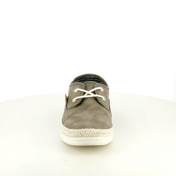 Zapatos sport Lois taupe con detalles tejano - Querol online
