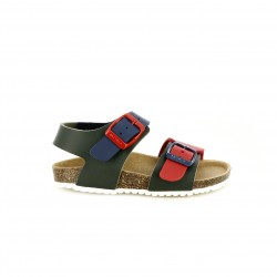 sandàlies GARVALIN verdes, vermelles i blaves amb doble sivella - Querol online