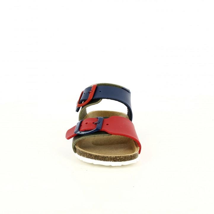 sandalias GARVALIN verdes, rojas y azules con doble hebilla - Querol online