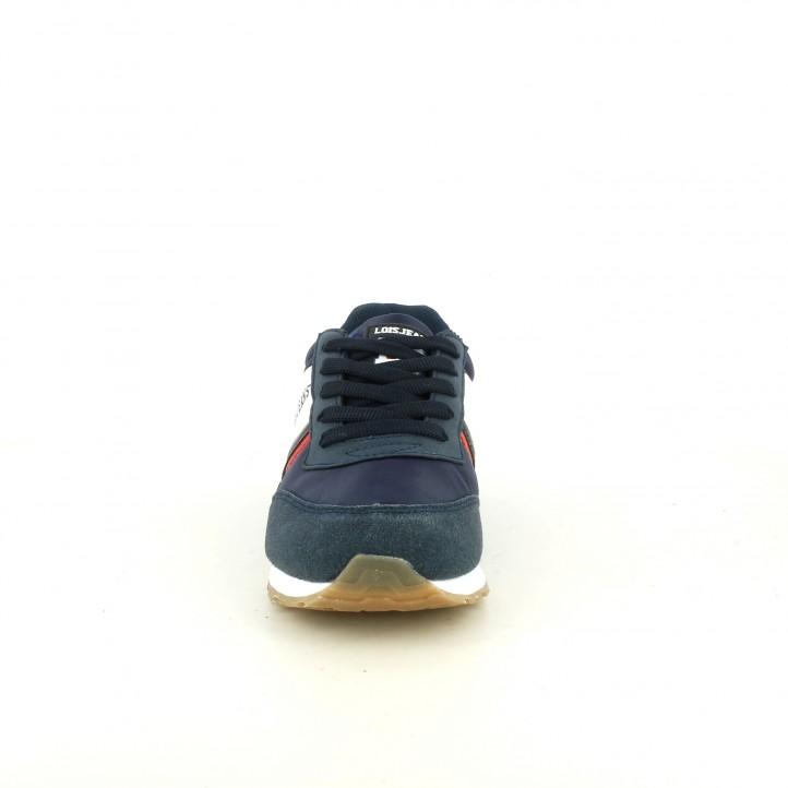 Zapatillas deporte Lois azules de cordones con detalles blancos y rojos - Querol online