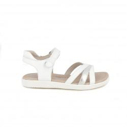 sandalias GARVALIN blancas de piel con tiras y velcro en el tobillo - Querol online