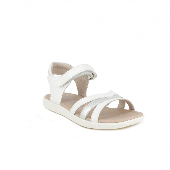 sandàlies GARVALIN blanques de pell amb tires i velcro al turmell - Querol online