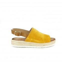 Sandalias tacón Redlove amarillas de piel con plataforma de esparto - Querol online