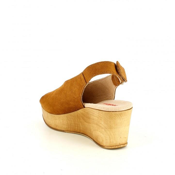 Sabates de falca Redlove marrons de pell amb plataforma de fusta - Querol online