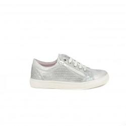 Zapatillas deporte QUETS! gris metalizado con cordones y cremalleras laterales - Querol online